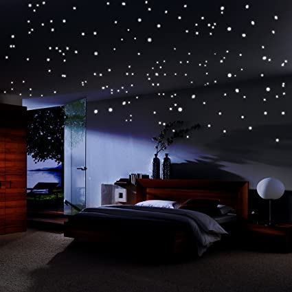 Glow In The Dark Stars Sticker Glowing Reusable Ceiling Decor Of 490pcs Dots Bonus Moon And Constellation Guide For Kids Bedding Room Or Gift