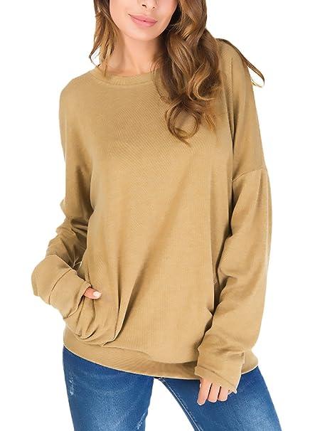 Camisetas Mujer Talla Grande Elegantes Primavera Otoño Camisa De Sencillos Especial Manga Larga Cuello Redondo Shirts