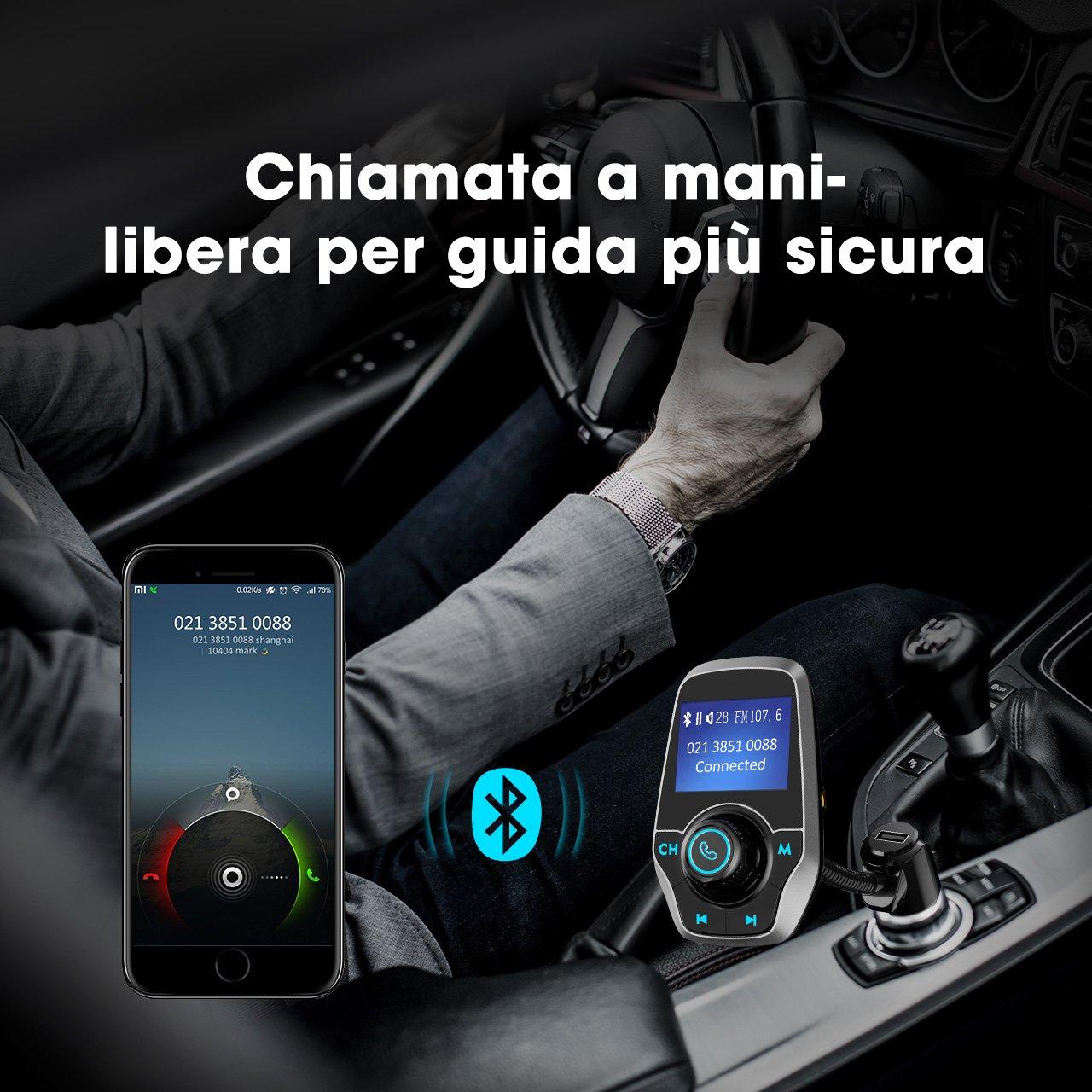 Trasmettitore FM per Auto CVC Tecnologia con Funzione di Memoria Mpow FM Trasmettitore Bluetooth FM Trasmettitore da Auto Supporta Musica MP3// Micro SD Card//32G TF//U Flash Drive Chiamate Vivavoce