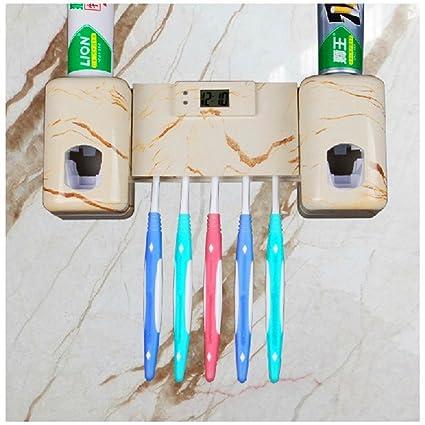 Dispensador automático de la crema dental y cepillo de dientes titular con el temporizador del cepillo