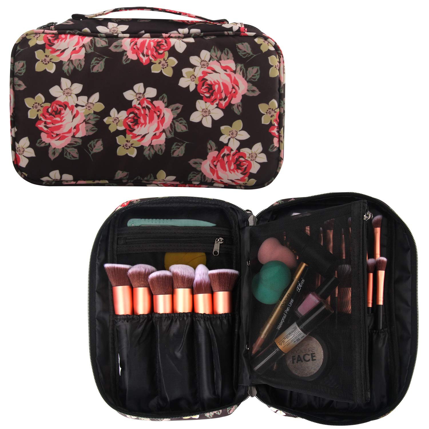 Professional Cosmetic Case Makeup Brush Organizer Makeup Artist Case with Belt Strap Holder Multi functional Cosmetic Bag Makeup Handbag for Travel & Home Gift (Peony Pattern)