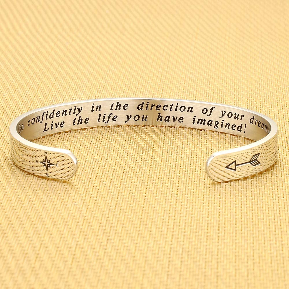 Graduation Encouragement Gift for Women IEFSHINY 2020 Graduation Gift Cuff Bracelet Inspirational Quote Mantra Stainless Steel Cuff Bangle Bracelet College Graduation Gifts for Her