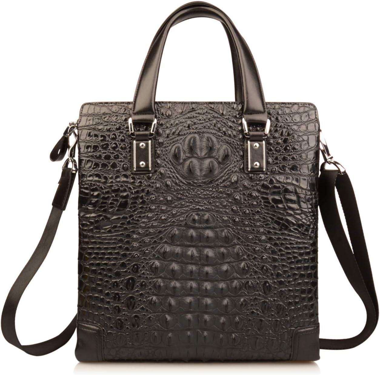 Ainifeel Men's Crocodile Embossed Genuine Leather Office Handbags Small Briefcase (Black)