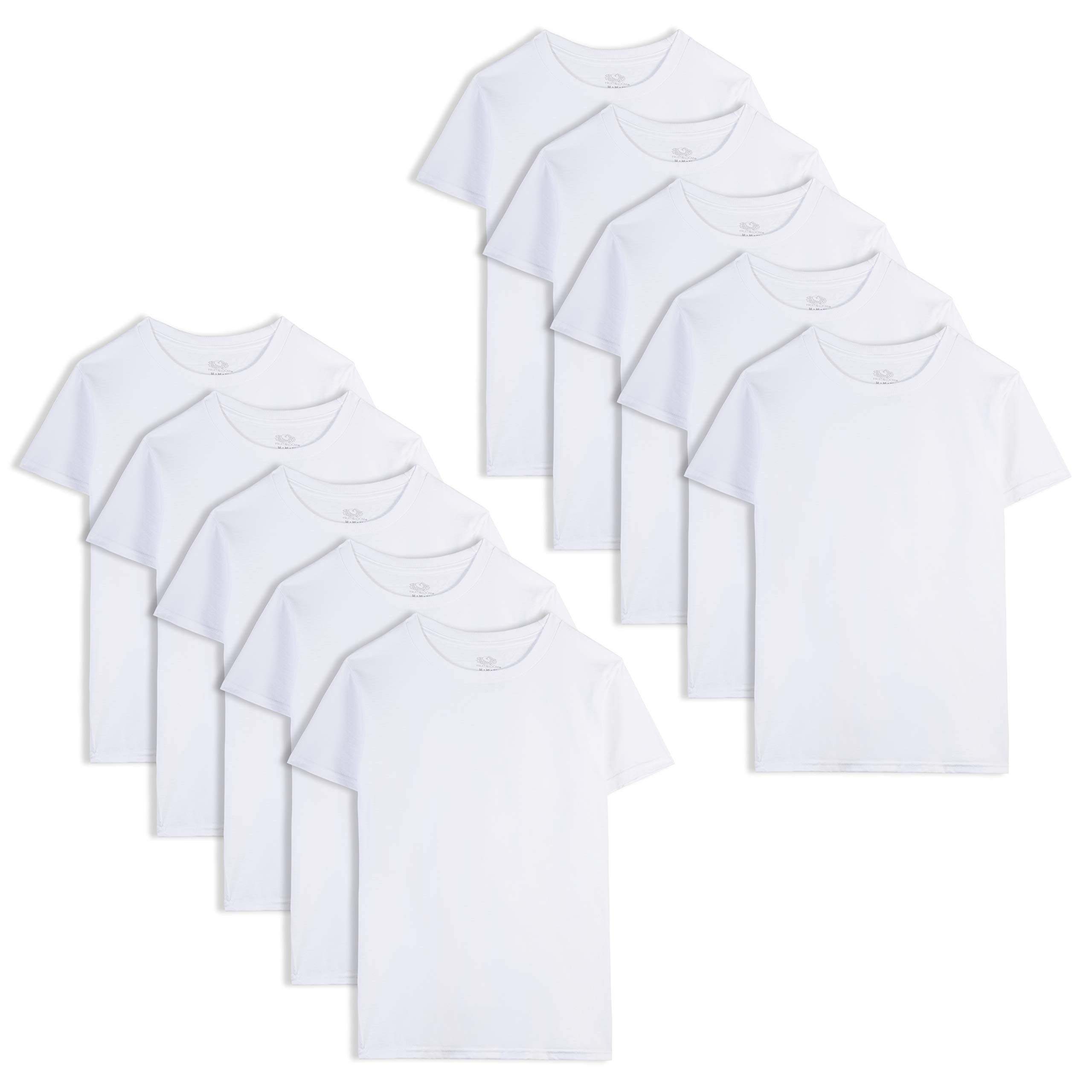 Fruit of the Loom Boys' Cotton White T Shirt, X-Small (10-Pack), White Ice (10 Pack)