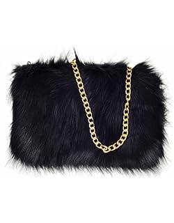New Girls Winter Plain fluffy Faux Fur Clutch Bag Ladies Evening Party fur Bag