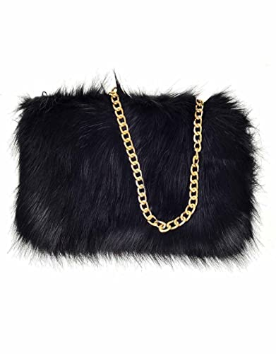 6799cc68fe Designer Soft Fluffy Feather Faux Fur Clutch Bag Purse Chain Runway (Black)