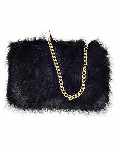 a4bdfcc15ea5 Designer Soft Fluffy Feather Faux Fur Clutch Bag Purse Chain Runway (Black)