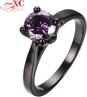 Slyq Jewelry Elegant Purple Zircon Stone Rings For Women Bridal Black Gold Filled Wedding Party Engagement Promise Ring Love Jewelry