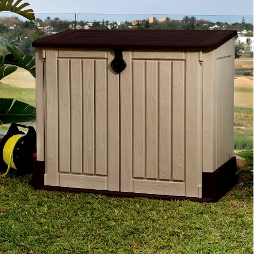 Garbage Can Shed for Outdoor Use, Contemporary Rustic MIDI Plastic 30-cubic feet Horizontal Garbage Shed center