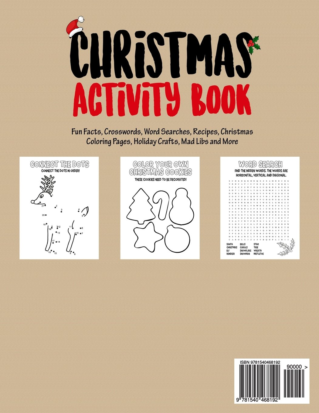 christmas activity book filled with fun christmas activities fun facts crosswords word searches recipes christmas coloring pages holiday