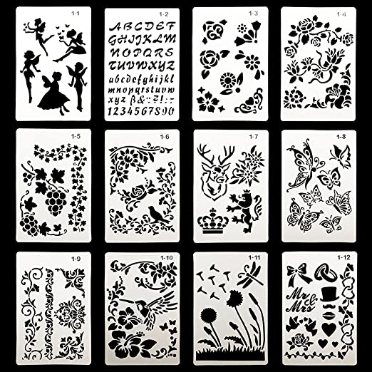 DEPEPE Plastic Stencils for Bullet Journal Painting Craft, Pack of 12