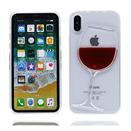 Amazon.com: iPhone X funda, Copa de vino creativo con ...