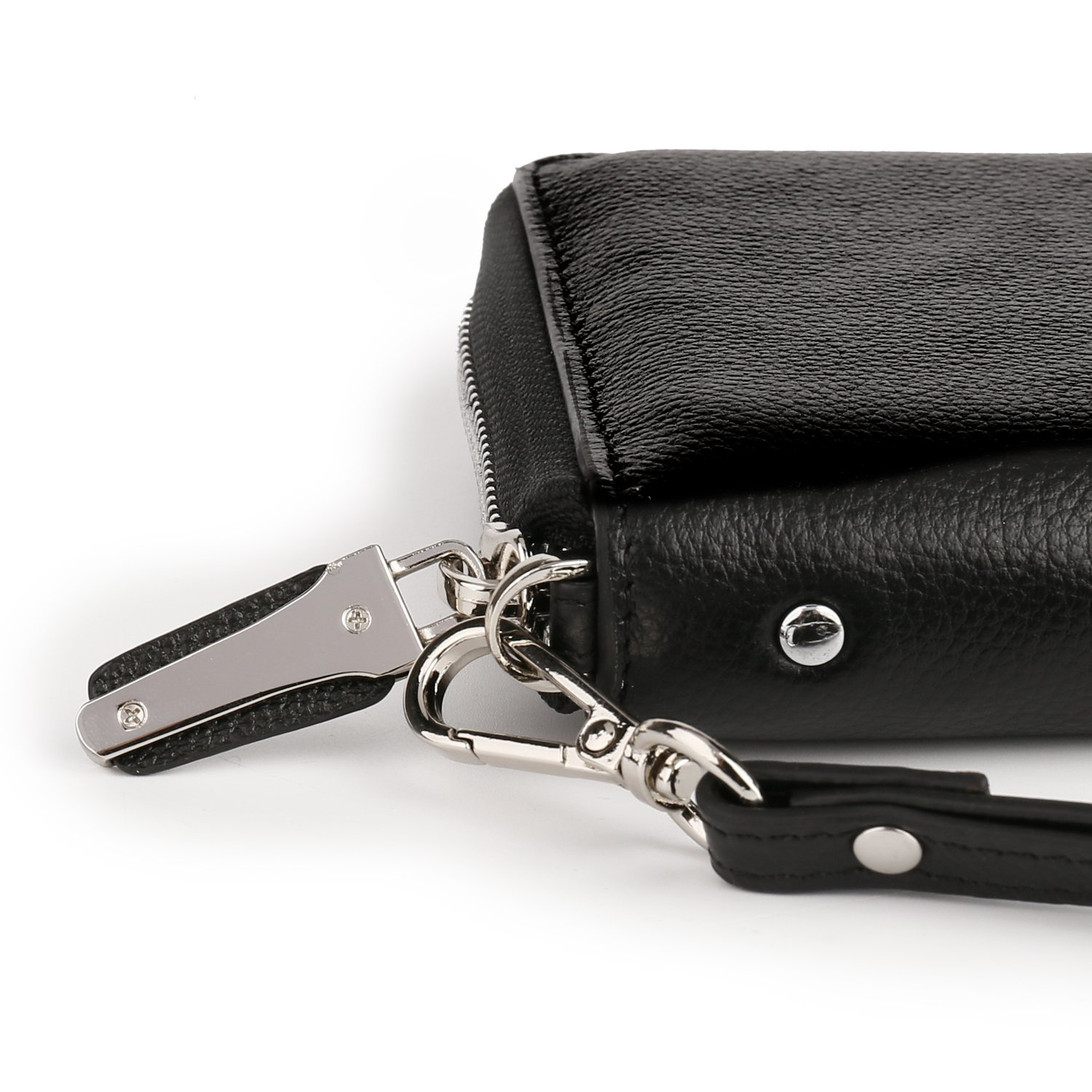 Womens RFID Blocking Wallet Real Leather Zip Around Clutch Large Travel Purse (Black) by Aymlan (Image #6)