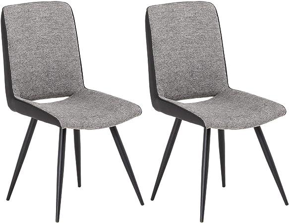 IDIMEX Lot de 2 chaises Santander pour Salle à Manger ou Cuisine au Design  Retro avec Assise rembourrée et 4 Pieds en métal laqué Noir, revêtement ...