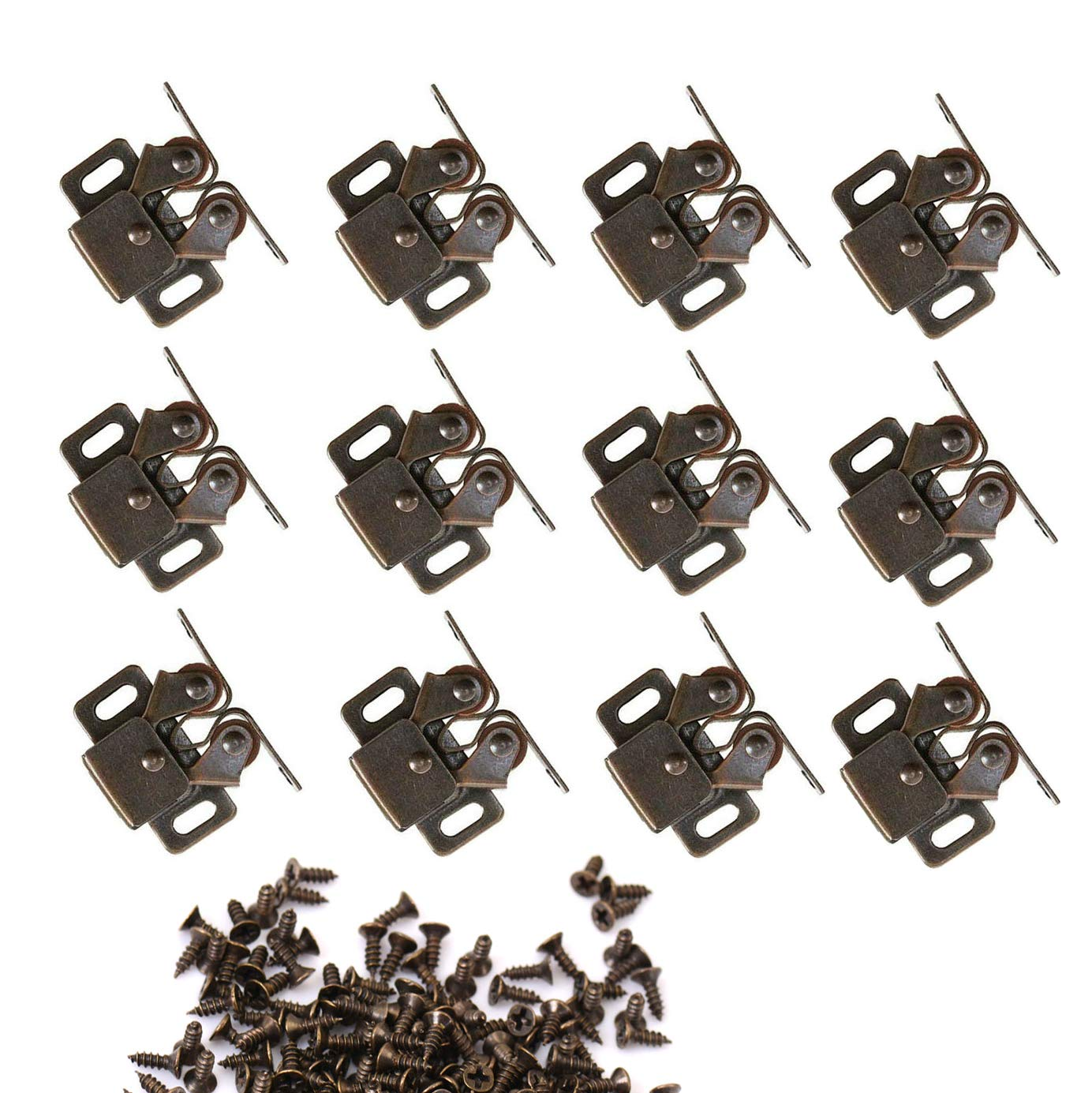 NewZC Double Roller Catch 12 Pack Twin Cupboard Latch Strong Hold Cabinet Door Catches - Antique Bronzed