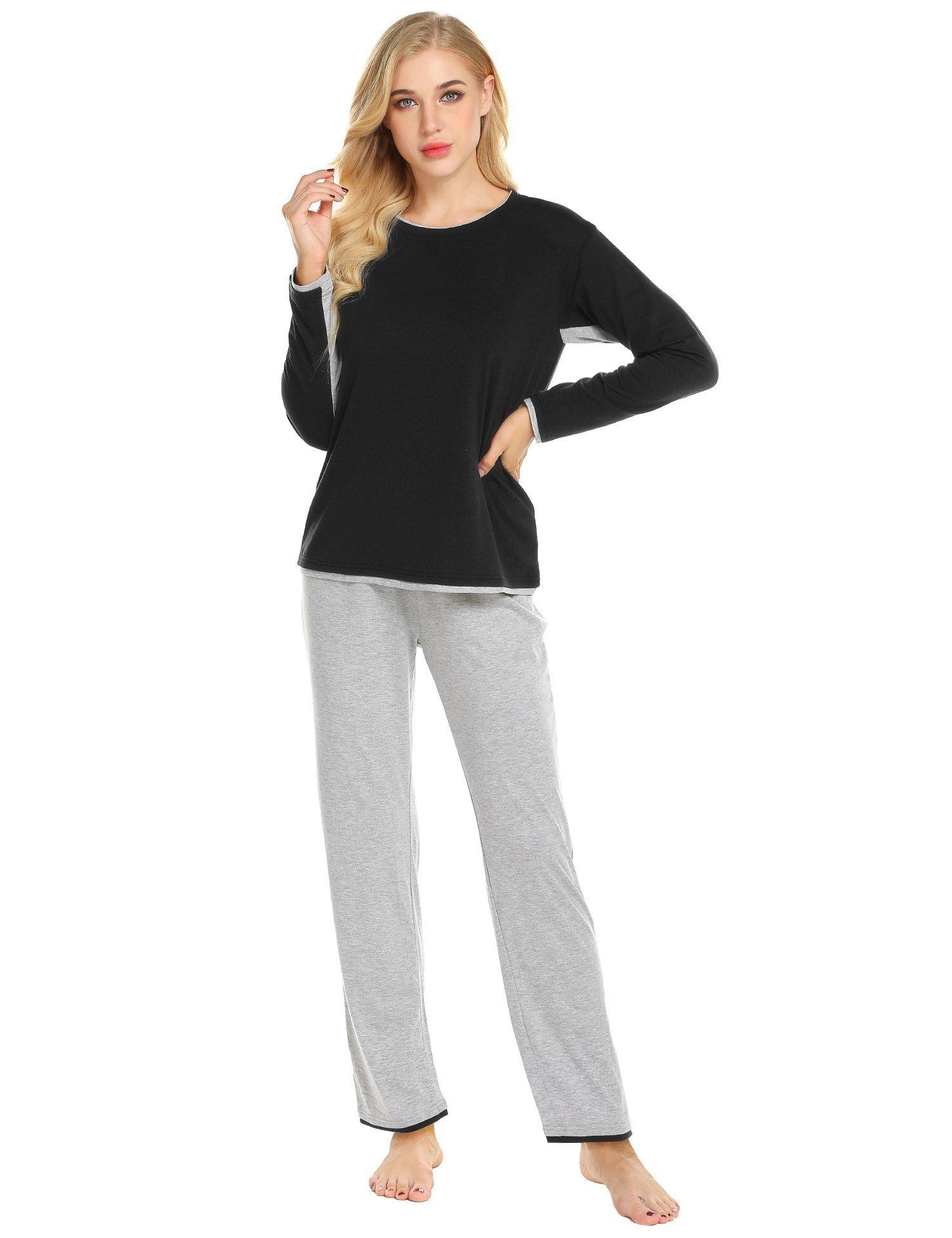 01cc625ce71 Ekouaer Pajamas Womens Long Sleeve Sleepwear Round Neck Soft Pj Sets ...