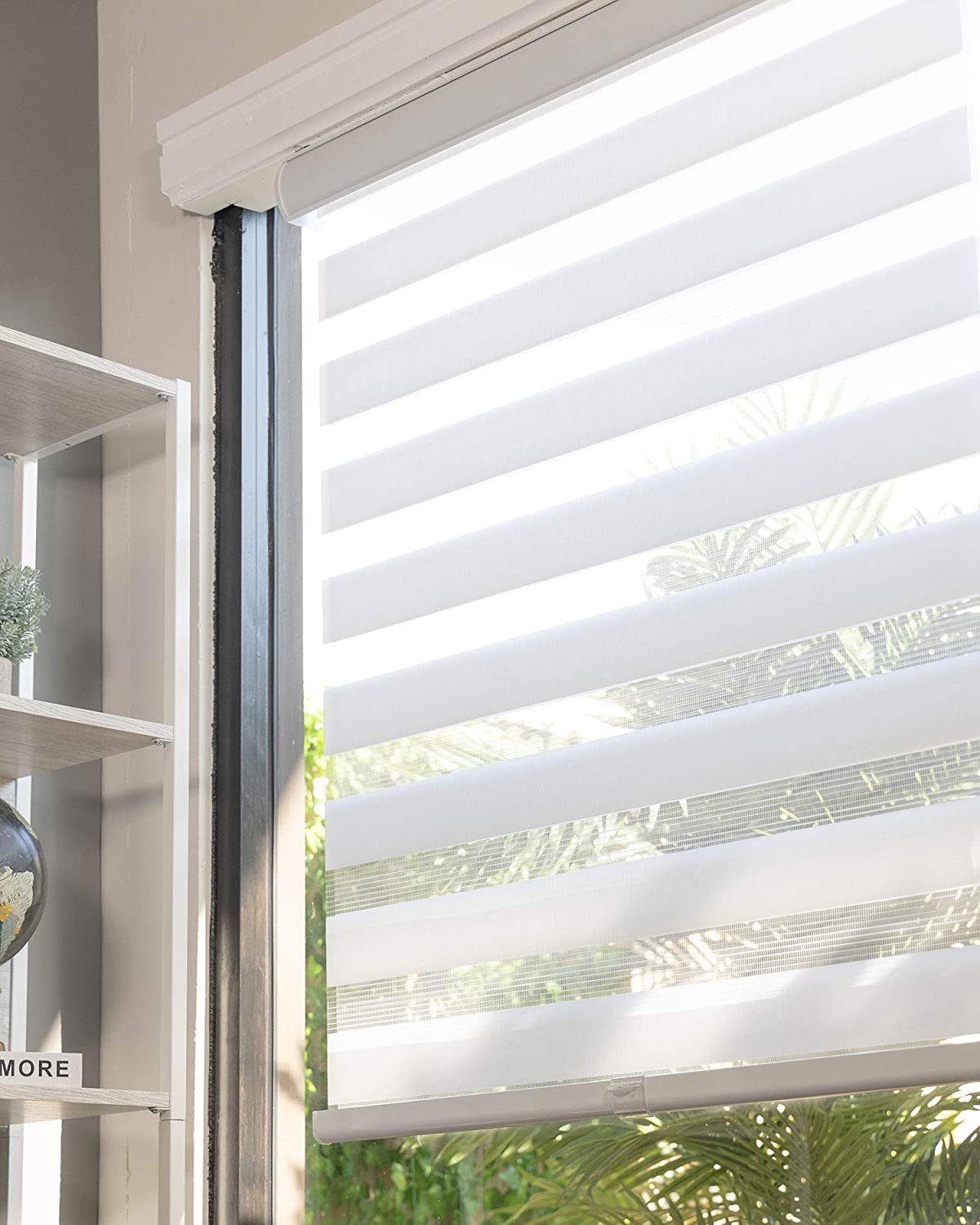 """CHICOLOGY Everyday Cordless Zebra Shades, Light Filtering Dual Layer Window Blind Treatment Best for Kids & Perfect for Living Room/Bedroom/Kitchen and More, 69"""" W X 72"""" H, Basic Arctic"""