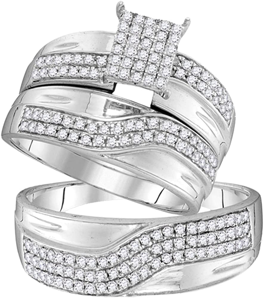 Jewels By Lux - Juego de anillos de boda de oro blanco de 10 quilates con diamantes redondos para él y para ella (claridad I2-I3, color J-K)