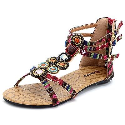 Odema Womens Flat Sandals Bohemian Beads Coin Back Zip Thong Dressy Shoes   Flats