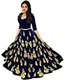 Women's Embroidered blue Taffeta Silk Semi-Stitched Lehanga Choli(ees_mastani 01)