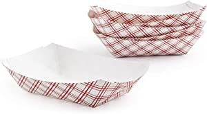 PaperMi Red Plaid Paper Food Tray - 2.5lb (250pcs) - Disposable Kraft Hot Dog Tray, Paper Food Trays for Picnics, Carnivals, Camping - Food Serving Tray Holds Hot and Cold Food- USA Made