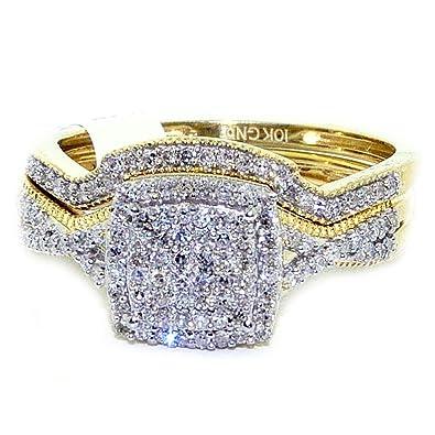 Amazon Com Midwest Jewellery Diamond Wedding Ring Set Yellow Gold