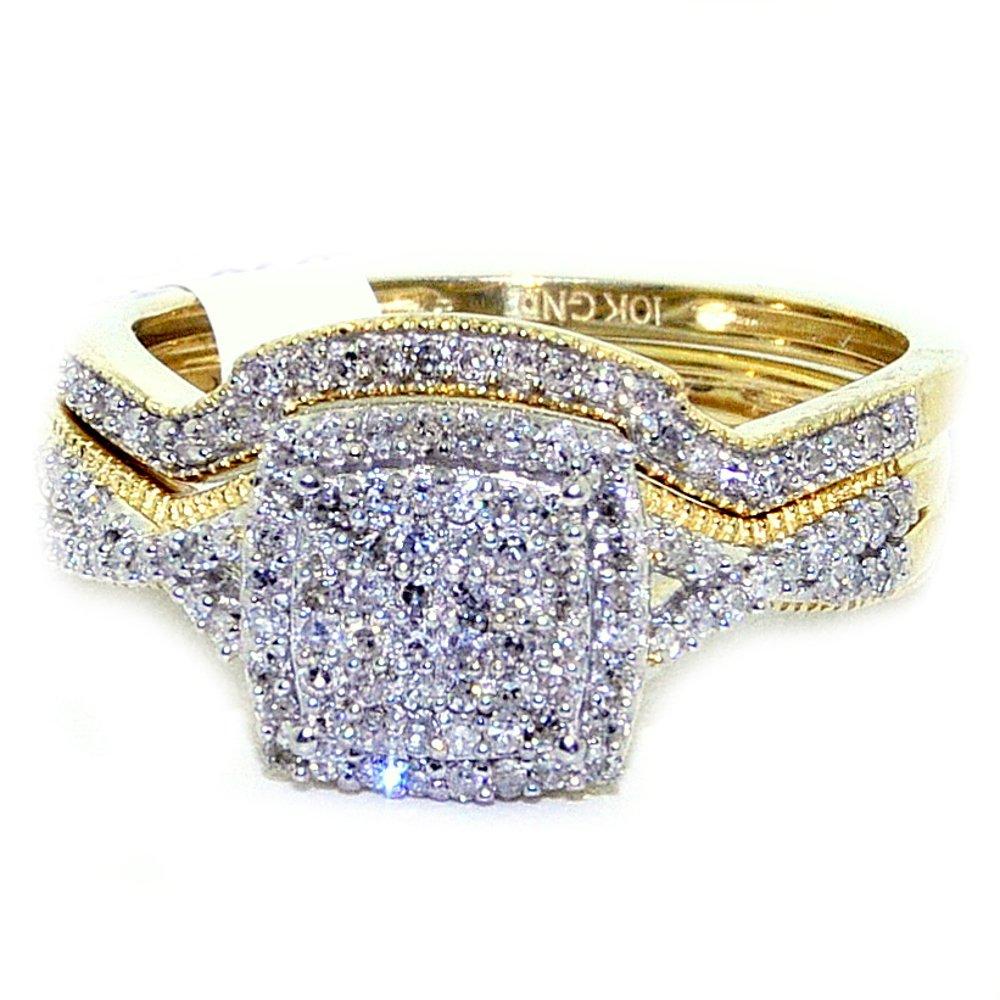 Diamond Wedding Ring Set Yellow Gold 10K 1/3cttw Square Top Pave Set 2pc Set