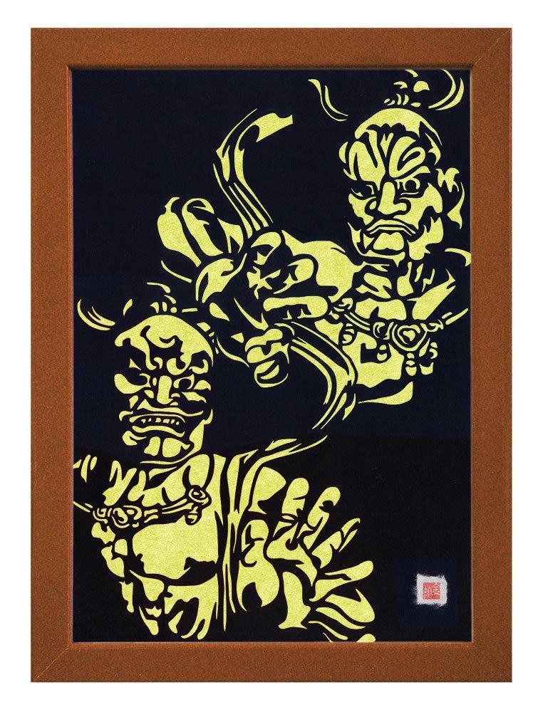 "Cutout picture Japanese art collage KIRIE ""Todaiji Kongorikishi"" Vajradhara(a Deva king who is a guardian of the Buddha) Made by Washi(Japanese paper) Green tea, 13"" x 18"""