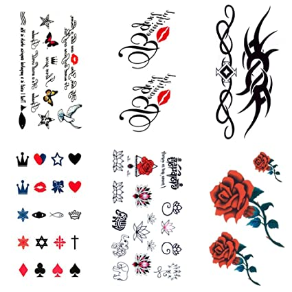 Amazon.com Temporary Tattoos for Women, 6 Sheets Small Size