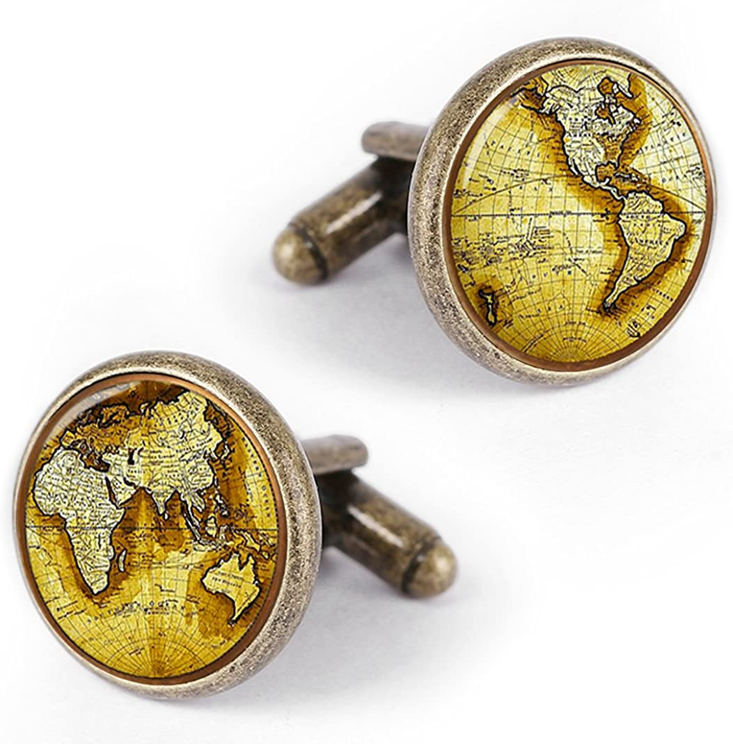 Kooer Gold Vintage World Map Cuff Links Personalized Map of The World Cufflinks Gift for Men