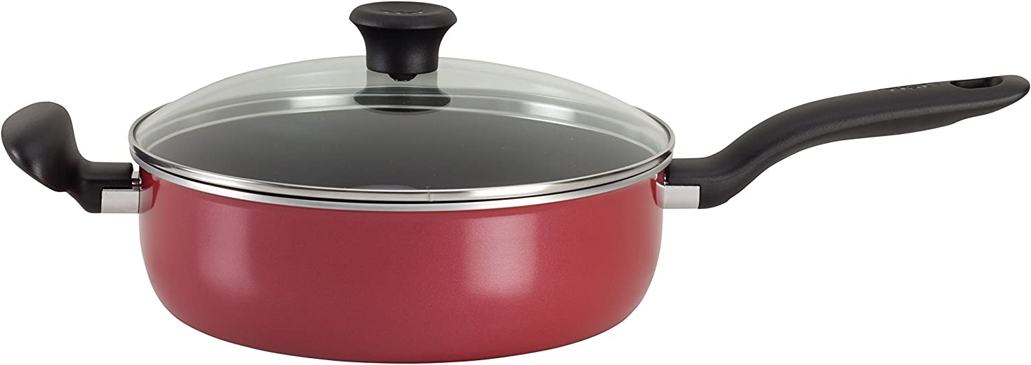T-fal A77782 Initiatives Total Nonstick Save Jumbo Cooker, 5-Quart, Red