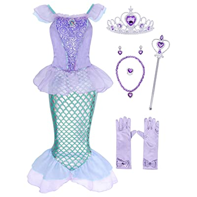 AmzBarley Princess Mermaid Costume for Girls Fancy Party Sequins Dress: Clothing