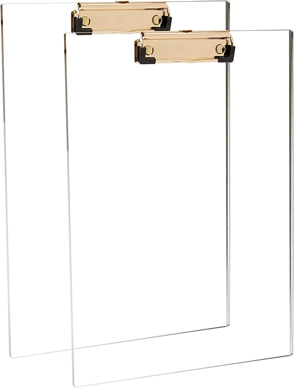 Clear Acrylic Clipboard with Gold Clip, Set 2-Pieces, Fits 9x12 inch - Letter Size Standard, Modern Design Desktop Stationery for Office, School and Home Supplies,Acrylic Office Supplies