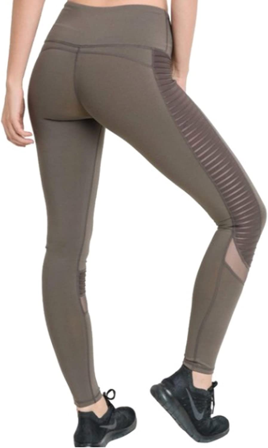 Amazon.com: Mono B Moto Yoga Leggings High Waist Pleated ...
