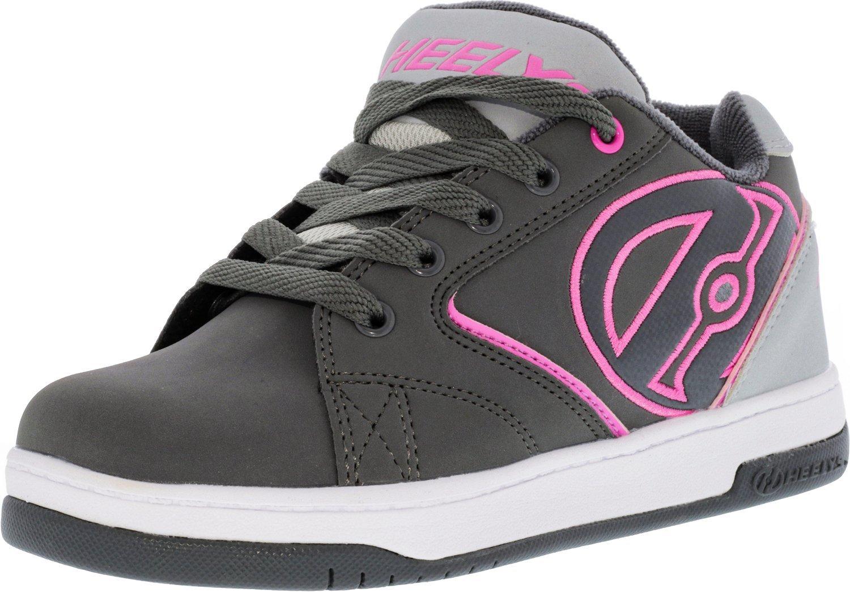 Heelys HE100041H Kid's Propel 2.0 Sneakers, Charcoal/Grey/Pink - 4