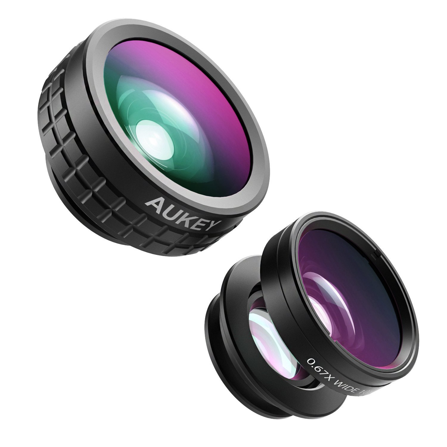 AUKEY Optic iPhone Lens, 180° Fisheye Lens + 110° Wide Angle + 10x Macro Mini Clip-on Cell Phone Camera Lenses Kit for Samsung, Android Smartphones PL-A1