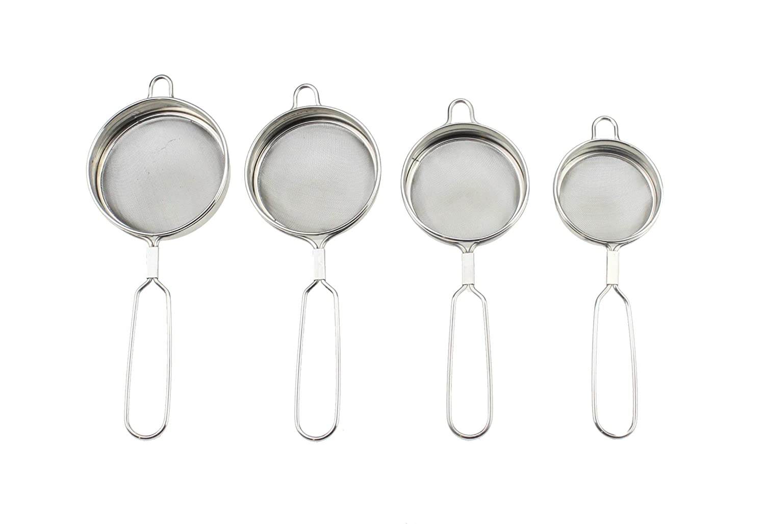 Fine Mesh Tea Sieve Strainer Set of 4 Stainless Steel Mini Small Tea Strainer Sieve Colander Sifter with Handle Ideal for Straining Tea, Sieving Flour, Jam Strainer Washing Fresh Herbs GK Global Kitchen