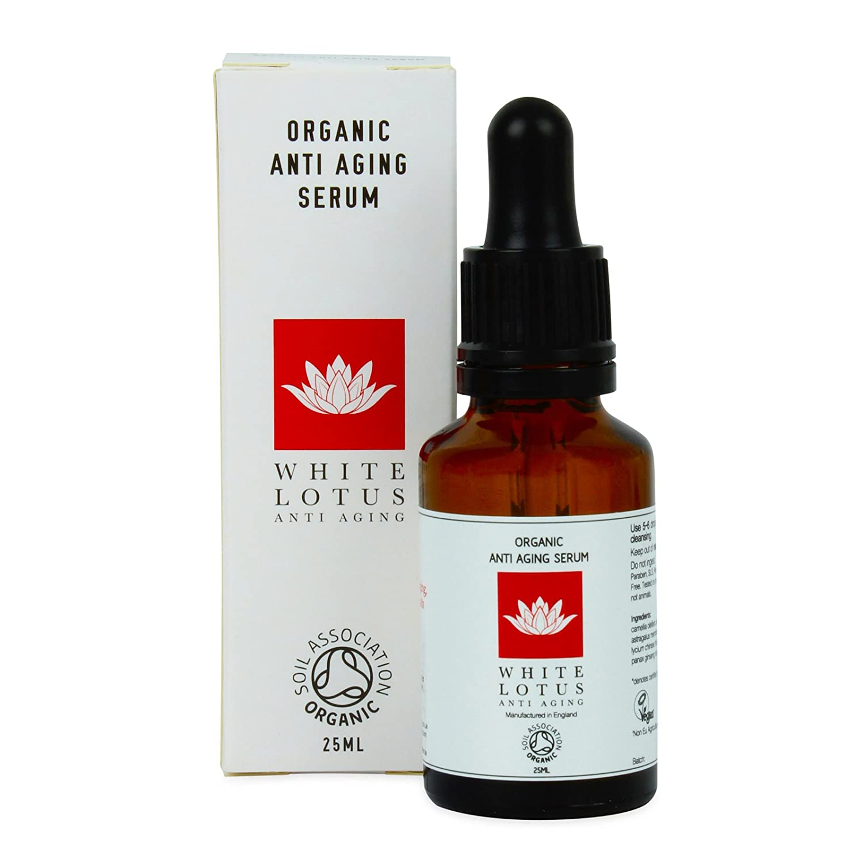 White Lotus- Organic Anti Aging Serum- Green Tea Oil, Proven Scientifically to Rejuvenate Skin Cells- Non-oily, High in Antioxidants & Vitamin C- Perfect Anti Ageing Serum 25mL White Lotus Anti Aging
