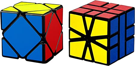 Skewb Black & Square-1 Black Bright Colors 3D Brain Teaser Puzzle Recommended for 3 -99 yrs (Combo of 2)