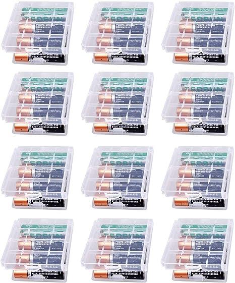 GTIWUNG 12 Piezas Caja de Batería de Plástico, Caja de Almacenamiento para baterías y baterías Recargables - Caja de batería para AA y AAA, Transparente: Amazon.es: Hogar