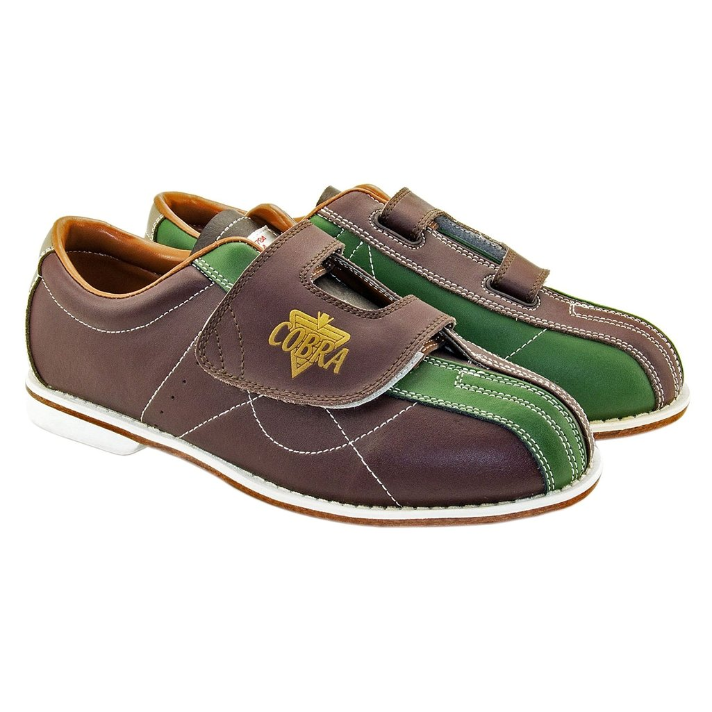 Bowlerstore Mens TCR3V Cobra Rental Bowling Shoes- Hook and Loop (10 M US, Brown/Green)