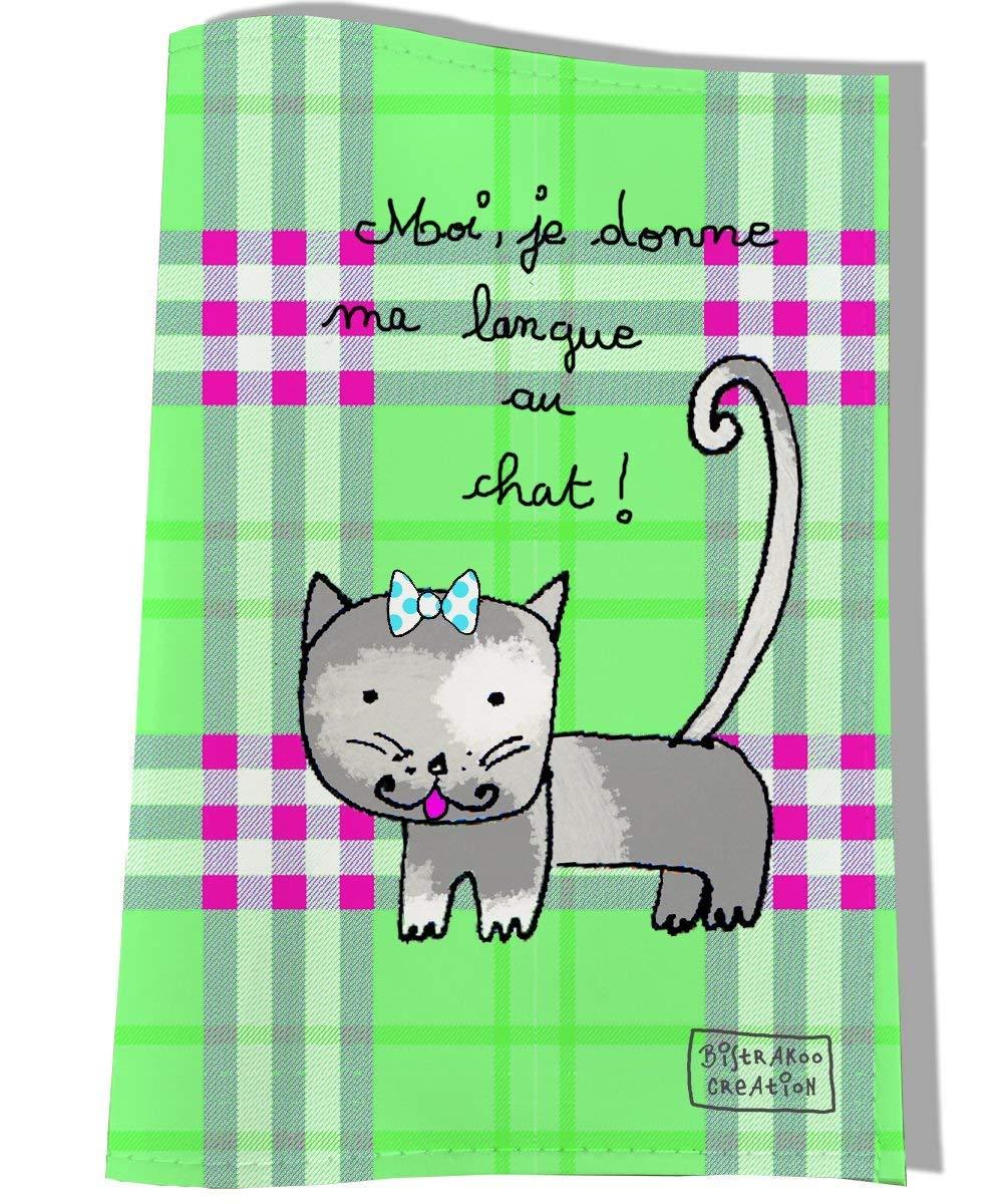 Protège carnet de santé pour chatte, Coloris vert, dimensions l. 12,5 x H. 18,5 cm, réf. C2204 réf. C2204