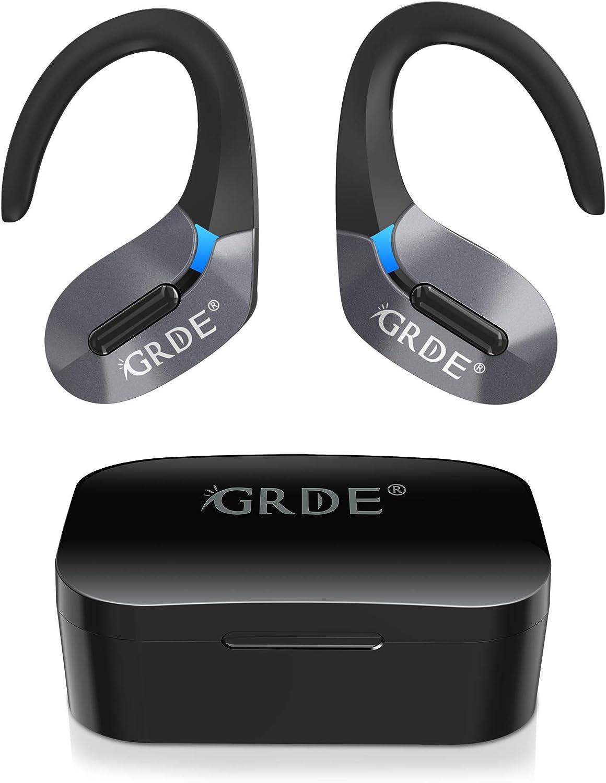 Auriculares Bluetooth, GRDE Auriculares Inalambricos (Deportivos IPX5 Impermeable) con Microfono Incorporado Hi-Fi CVC8.0, 50H Reproducción Auriculares In-Ear con Estuche de Carga para iPhone Android