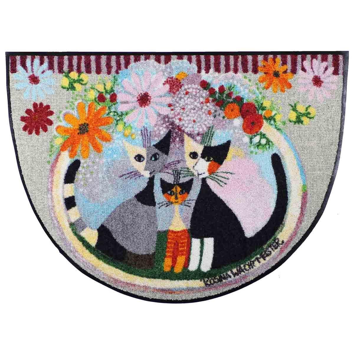 Salonloewe Rosina Wachtmeister Famiglia Con Fiore halbrund Fußmatte 60 x 85 cm SLD1907-H60x085 Fußabtreter, Türmatte, Schmutzfangmatte, Schmutzfänger, Küchenteppich