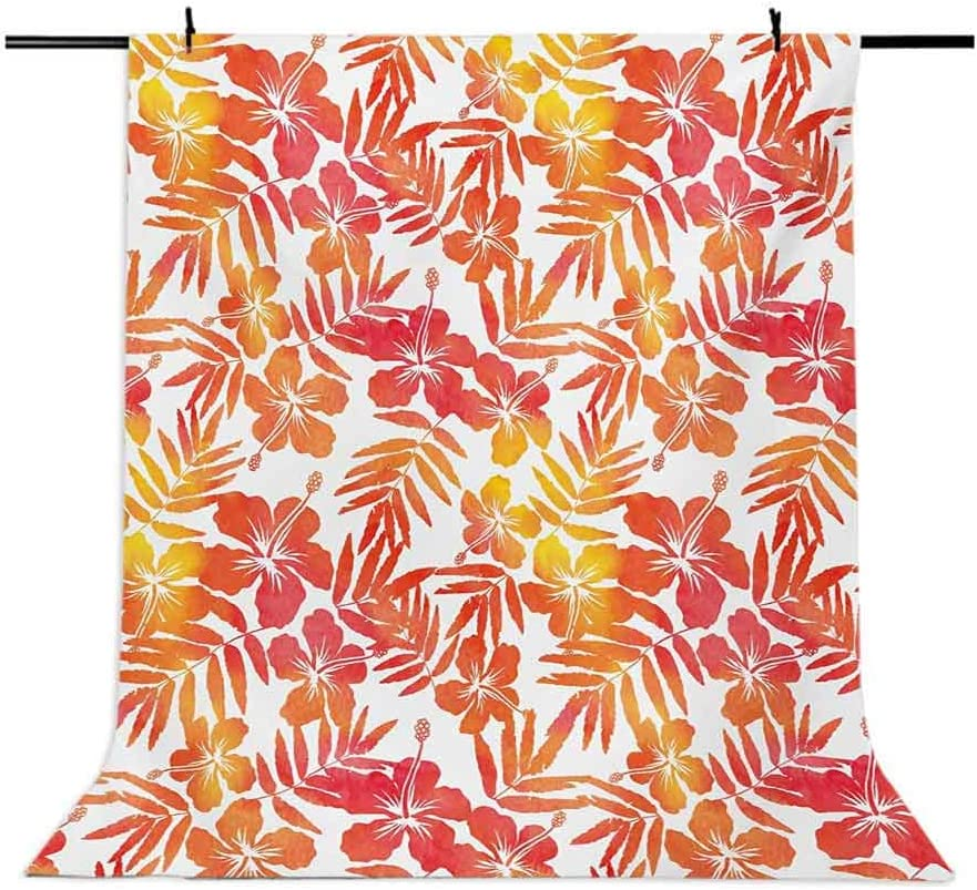Jungle 10x15 FT Photo Backdrops,Watercolor Art Inspired by Exotic Island Nature Hibiscus Flowers Hawaiian Background for Child Baby Shower Photo Vinyl Studio Prop Photobooth Photoshoot