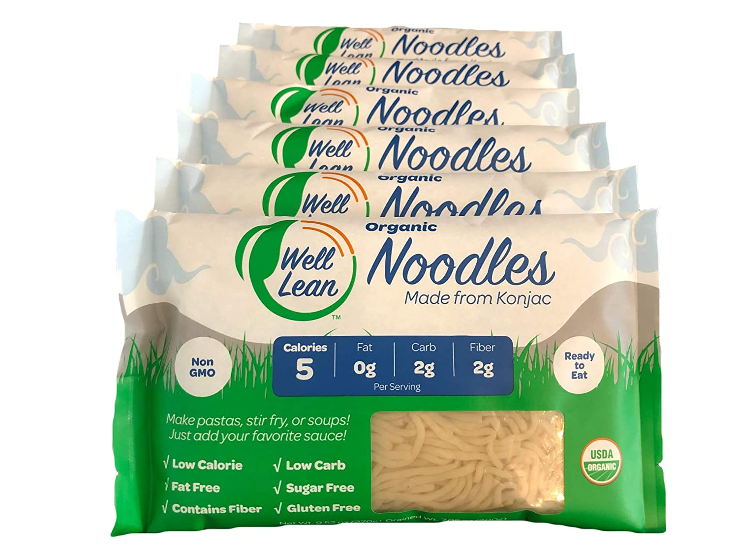 Organic Well Lean Noodles (6 PACK/57.1 oz) - Premium Shirataki [Ready to Eat, No Boiling, ODOR FREE, Non-GMO]