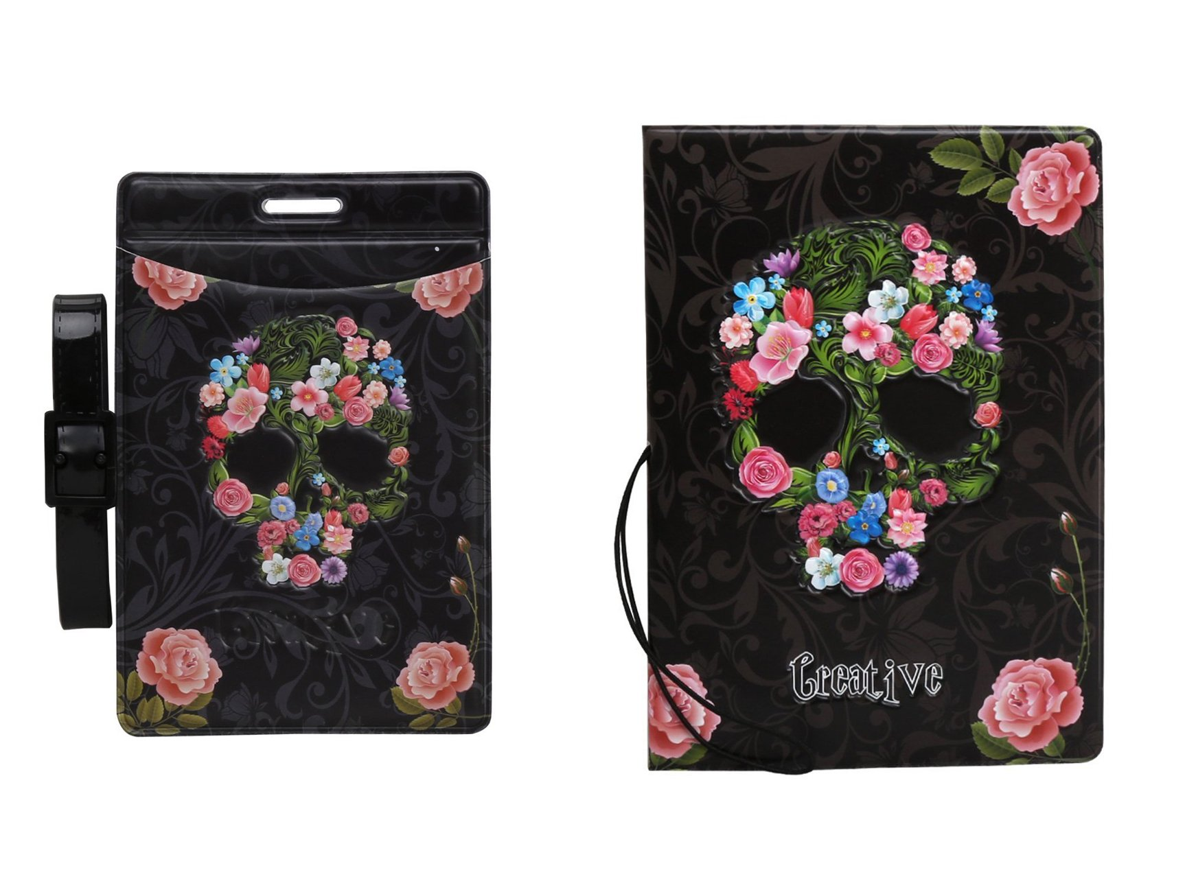 Passport Cover - Holder - for Men & Women - w/ Luggage Tag (Skull)
