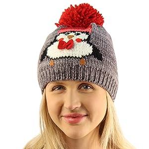 Christmas Double Soft Thick Knit Cute Penguin Pom Pom Cap Beanie Hat Gray S/M