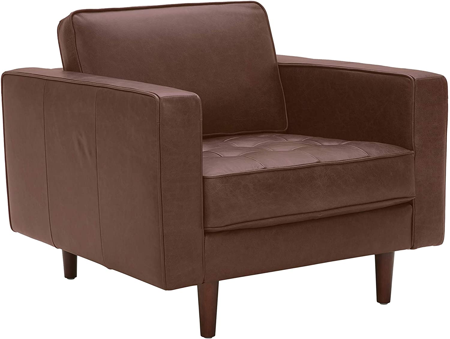Amazon Brand – Rivet Aiden Mid-Century Modern Tufted Leather Accent Chair, 35.4