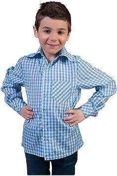 erdbeerclown – Disfraz Infantil Azul Color Blanco diseño Basic Camisa Cuadros, Blue White Check ered Camiseta, Oktoberfest Carnaval y, 116, – , Color Azul: Amazon.es: Juguetes y juegos